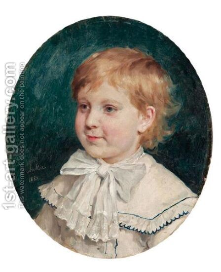 Bildnis Eines Knaben, 1880 Portrait Of A Boy, 1880 by Albert Anker - Reproduction Oil Painting