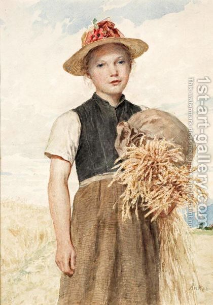 Madchen Mit Garben Girl With Sheaves by Albert Anker - Reproduction Oil Painting