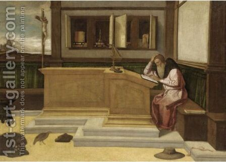 Saint Jerome In His Study by (after) Vincenzo Di Biagio Catena - Reproduction Oil Painting
