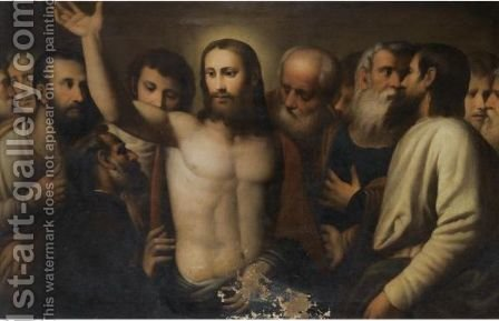 Christ Amongst The Disciples by (after) Alessandro Bonvicino (Moretto Da Brescia) - Reproduction Oil Painting