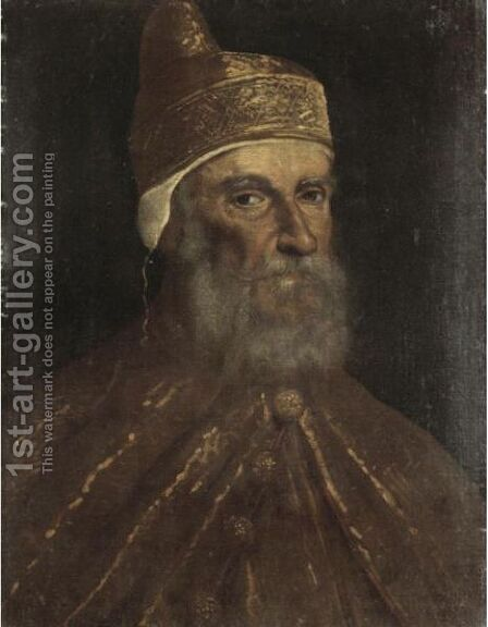 Portrait Of A Doge, Head And Shoulders, Probably Doge Francesco Donato (1468-1553) by (after) Jacopo Tintoretto (Robusti) - Reproduction Oil Painting