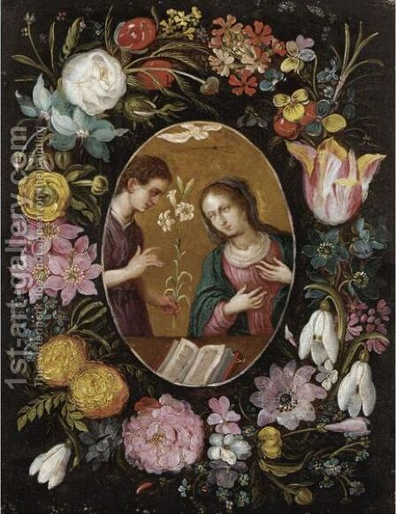 The Annunciation Surrounded By A Garland Of Flowers by (after) Frans II Francken - Reproduction Oil Painting