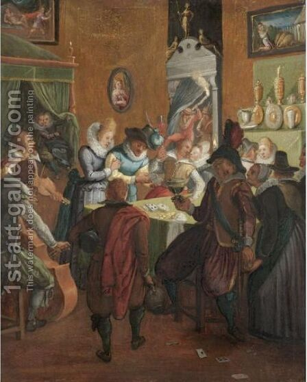 A Merry Company In An Interior, With Musicians And Gamblers by (after) Jeremias Van Winghen Or Wingen - Reproduction Oil Painting
