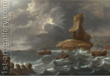 A Seascape With Smalschips In Coastal Waters by Cornelis Mahu - Reproduction Oil Painting