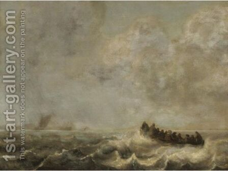 A Rowing Boat In Rough Sea by Dutch School - Reproduction Oil Painting