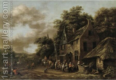 A Village Scene With Numerous Peasants Outside A Tavern by Barend Gael or Gaal - Reproduction Oil Painting
