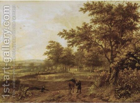 A Wooded Landscape With A Traveller And His Horse On A Path, A Farmhouse Beyond by (after) Jan Wijnants - Reproduction Oil Painting