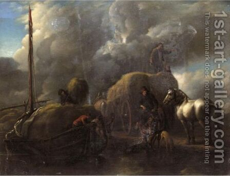 Le Port Au Foin Harvesters Unloading Hay Into A Barge Beside A River by (after) Philips Wouwerman - Reproduction Oil Painting