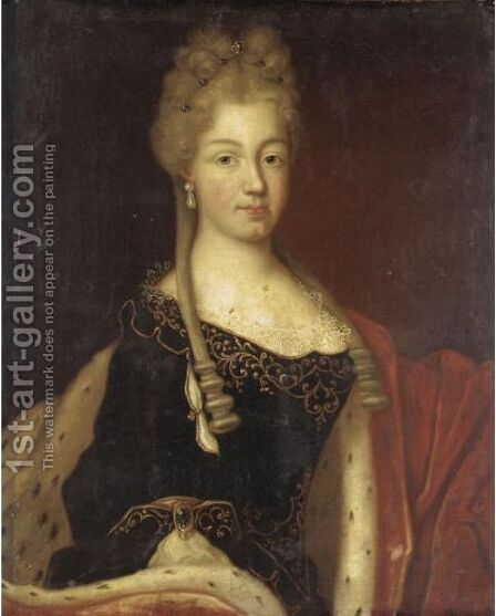 Portrait Of A Lady, Half Length, Wearing A Blue Dress And Ermine Gown Said To Be Maria Luisa Of Savoy (1688-1714) by (after) Largilliere, Nicholas de - Reproduction Oil Painting