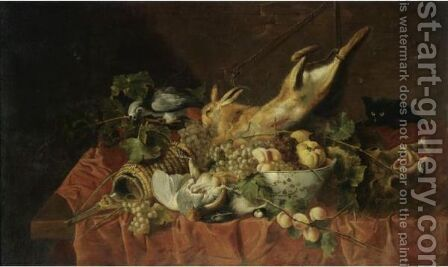 A Still Life With A Hare, A Partridge, A Bowl Of Fruit, A Boar's Head, A Flagon Of Wine by (after) Jan Fyt - Reproduction Oil Painting