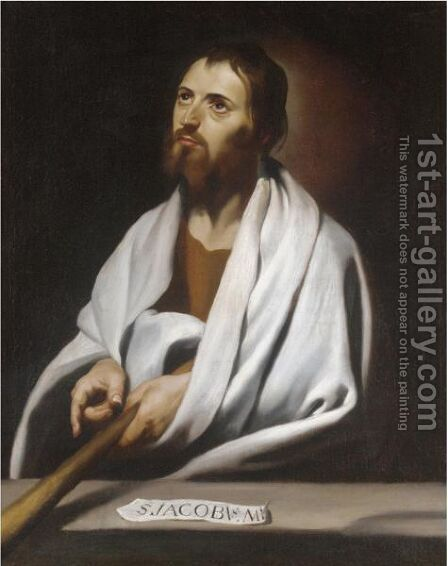 Saint James The Less, Holding A Staff by (after)  Francisco De Zurbaran - Reproduction Oil Painting