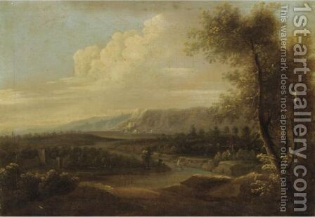 Extensive Italianate Landscape With Figures In The Foreground, A Castle Beyond by Italian School - Reproduction Oil Painting