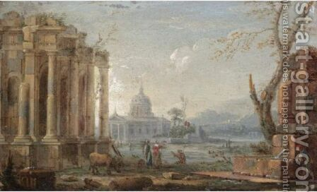 A Capriccio View Possibly Of Saint Peter'S, Rome by (after) Pierre-Antoine The Younger Patel - Reproduction Oil Painting