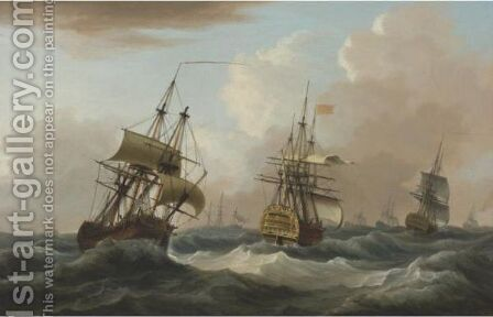 The Squadron Of Admiral Thomas Graves Off The Banks Of Newfoundland, September 17th, 1782 by Dominic Serres - Reproduction Oil Painting