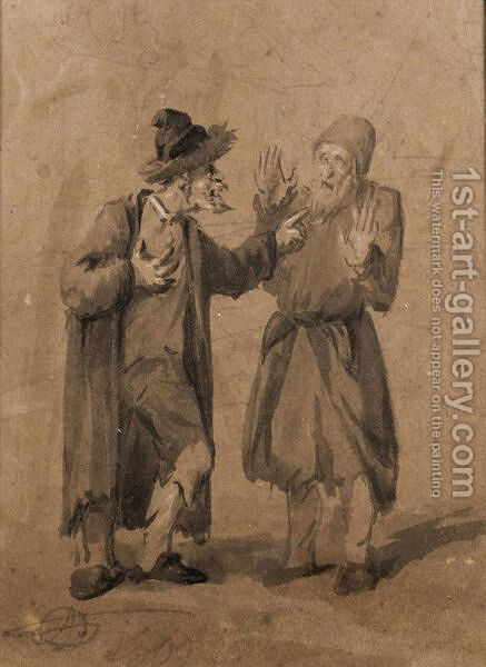 Two Jews Quarrelling by Alexander Orlovsky - Reproduction Oil Painting