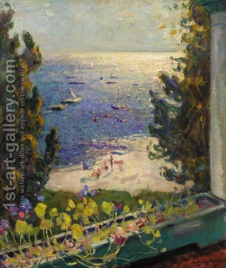 Terrace Overlooking The Beach, Long Island by Arnold Borisovich Lakhovsky - Reproduction Oil Painting