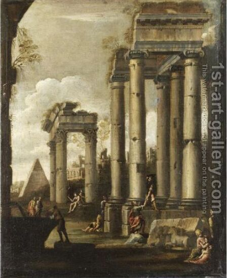 Capriccio Architettonico Con Figure by (after) Giovanni Ghisolfi - Reproduction Oil Painting