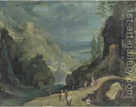 Paesaggio Col Tempio Di Tivoli by (after) Marten Ryckaert - Reproduction Oil Painting
