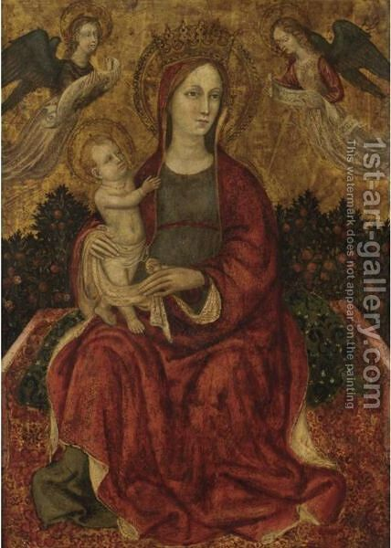 Madonna Col Bambino E Angeli In Un Giardino by Italian School - Reproduction Oil Painting