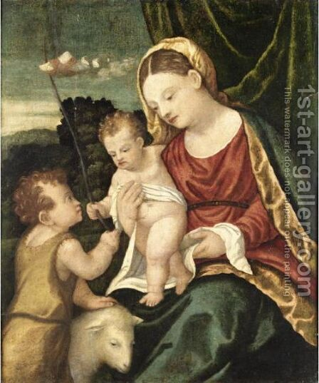 Madonna Col Bambino E San Giovannino by (after) Girolamo Da Santacroce - Reproduction Oil Painting