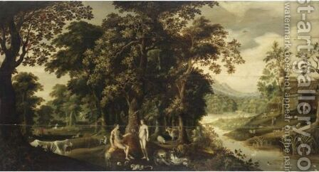 Adamo Ed Eva Nel Paradiso Terrestre by (after) Jan, The Younger Brueghel - Reproduction Oil Painting