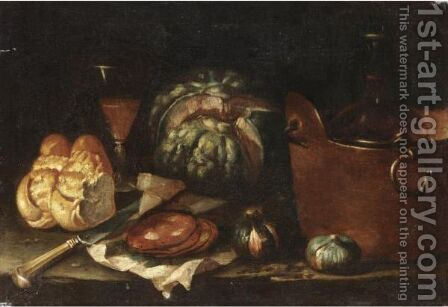 Natura Morta Con Zucca, Fichi, Pentola Di Rame, Pane E Salame by (after) Nicola Levoli - Reproduction Oil Painting