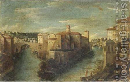 Veduta Dell'Isola Tiberina A Roma by Italian School - Reproduction Oil Painting