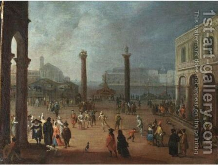 Venezia, Carnevale In Piazza San Marco by (after) Joseph, The Younger Heintz - Reproduction Oil Painting