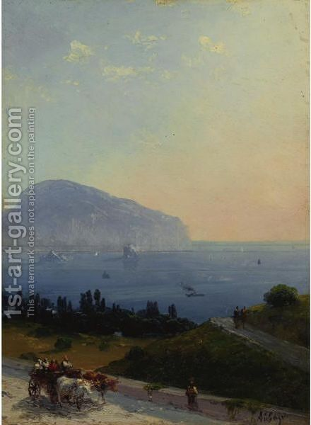 Travellers On The Crimean Coast by Ivan Konstantinovich Aivazovsky - Reproduction Oil Painting