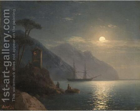 Moonlit Coast by Ivan Konstantinovich Aivazovsky - Reproduction Oil Painting