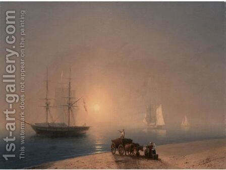 Coast At Sunset by (after) Ivan Konstantinovich Aivazovsky - Reproduction Oil Painting