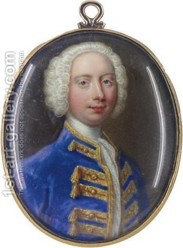 Portrait Of A Nobleman, Possibly Frederick Prince Of Wales (1707-1751) by Christian Friedrich Zincke - Reproduction Oil Painting
