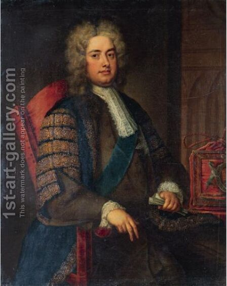 Portrait Of Robert Walpole, 1st Earl Of Orford, First Lord Of The Treasury (1676-1745) by (after) Charles Jervas - Reproduction Oil Painting