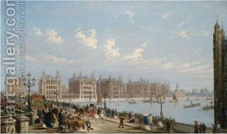 View Of Westminster Bridge And St Thomas's Hospital by (after) James Pollard - Reproduction Oil Painting