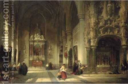 The Chapel Of St Nicholas, Dixmunde, Flanders by David Roberts - Reproduction Oil Painting