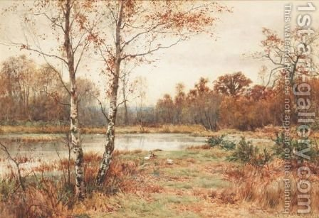 A Heathland Landscape With Ducks And A Pond by James Edward Grace - Reproduction Oil Painting