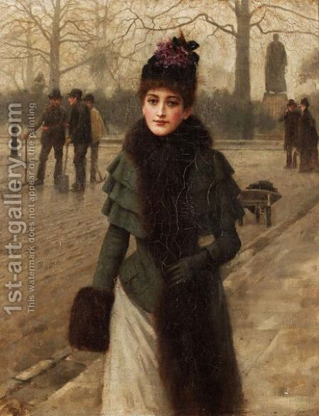 A Winter's Walk by (after) Sir George Clausen - Reproduction Oil Painting
