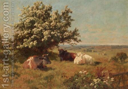 Cows In A Meadow by Charles Collins - Reproduction Oil Painting