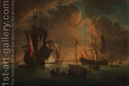 Seascape With A Man O' War Firing A Salute by (after) Peter Monamy - Reproduction Oil Painting
