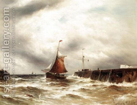 Bringing Home The Catch In Stormy Seas, Dover by Gustave de Breanski - Reproduction Oil Painting