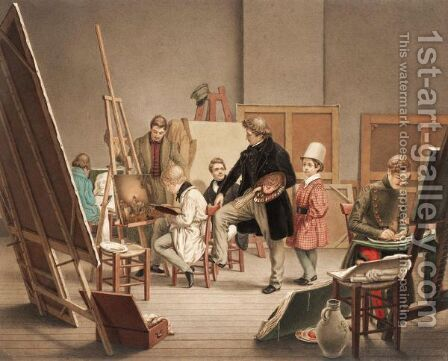 In The Artist's Studio by Alphonse De Labroue - Reproduction Oil Painting