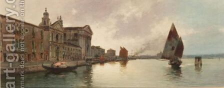 A View Of The Giudecca With San Giorgio Maggiore by Alberto Prosdocimi - Reproduction Oil Painting