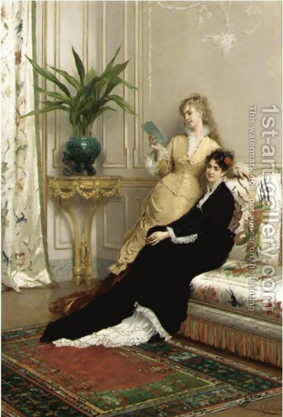 The Letter by Gustave Leonhard de Jonghe - Reproduction Oil Painting