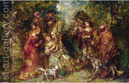 Rendez-Vous Des Cavaliers by Adolphe Joseph Thomas Monticelli - Reproduction Oil Painting