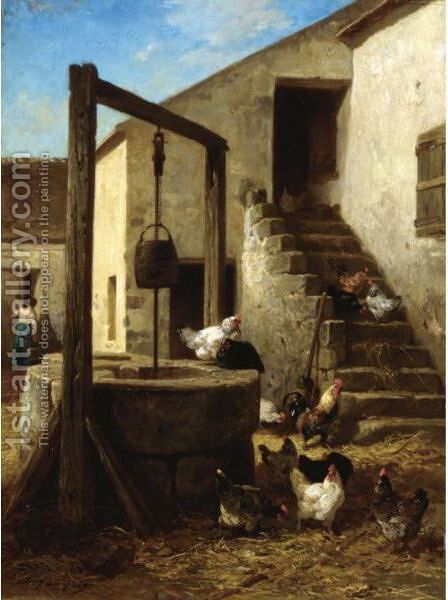 Interieur De Basse-Cour by Charles Émile Jacque - Reproduction Oil Painting