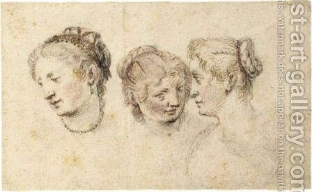 Study Of Three Female Heads by (after) Pieter Jansz Saenredam - Reproduction Oil Painting