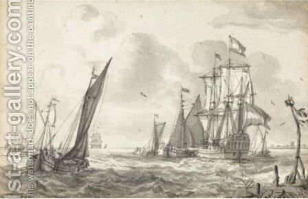 A Royal Yacht And Smaller Vessels On A Choppy Sea by Jan Claes Rietschoof - Reproduction Oil Painting