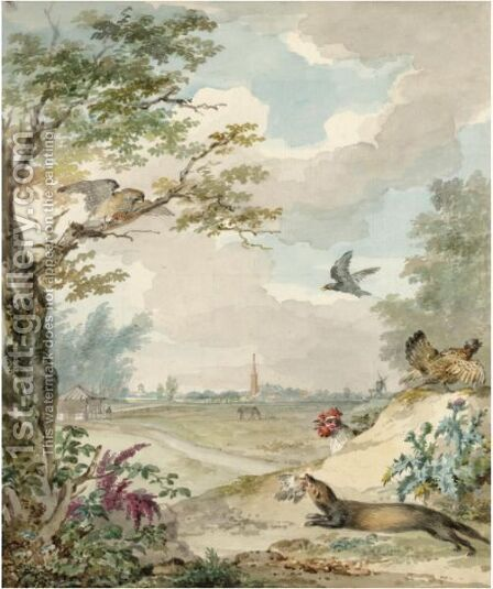 Landscape With A Hunting Weasel Mobbed By Birds by Aert Schouman - Reproduction Oil Painting