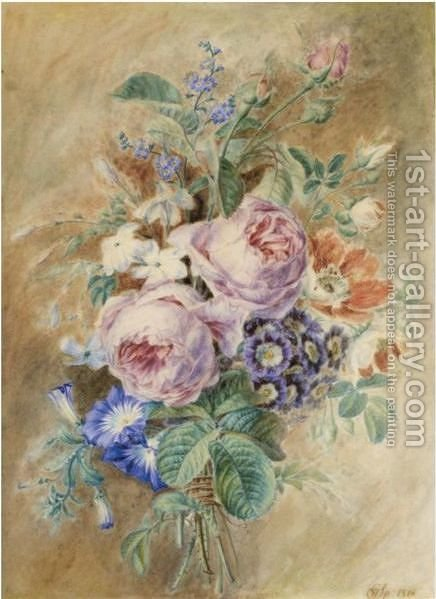 A Posy With Roses, Forget-Me-Nots And Convolvulus by Cornelis van Spaendonck - Reproduction Oil Painting