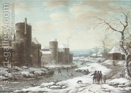 A Winter Scene, With Figures Skating On The Outskirts Of A Fortified Town by Henri-Desire Van Blarenberghe - Reproduction Oil Painting